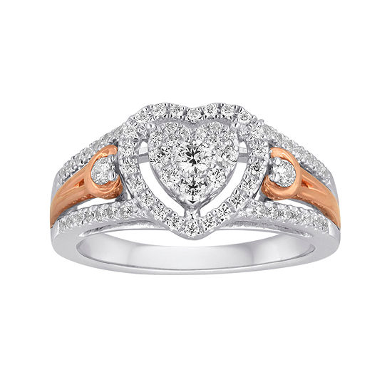 I Said Yes 1 2 Ct Tw Diamond Heart Shaped 10k White Rose Gold Bridal Ring