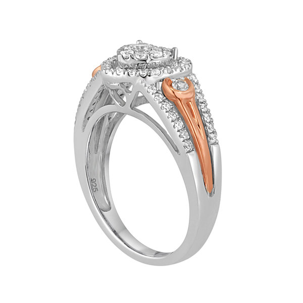 I Said Yes™ 1/2 CT. T.W. Diamond Heart-Shaped 10K White & Rose Gold Bridal Ring