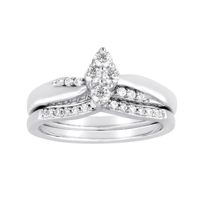 I Said Yes™ 3/8 CT. T.W. Diamond Marquise-Shaped Platinaire® Bridal Ring Set