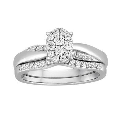 I Said Yes™ 3/8 CT. T.W. Diamond Oval Platinaire® Bridal Ring Set