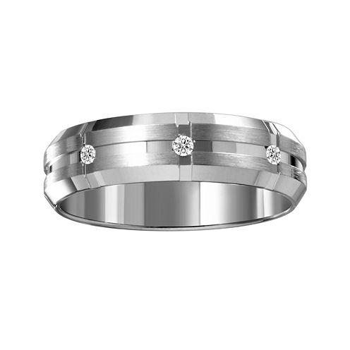 Mens 6mm Diamond-Accent 10K White Gold Wedding Band