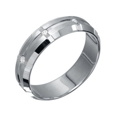 Mens 6mm Diamond-Accent 10K White Gold Wedding Band