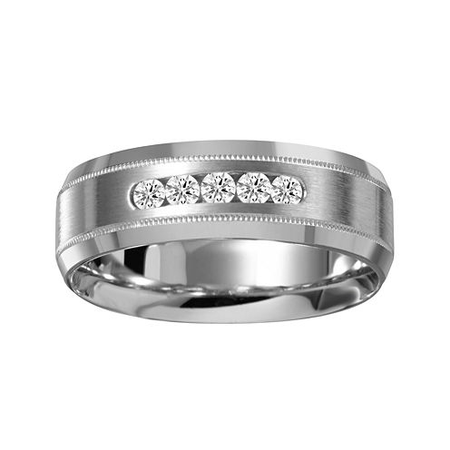 Mens 7mm 1/4 CT. T.W. Diamond 10K White Gold Milgrain 5-Stone Wedding Band