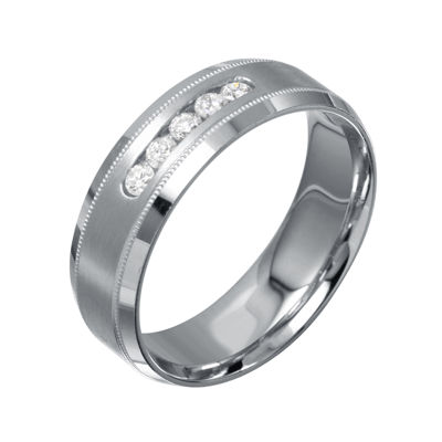 Mens 7mm 1/4 CT. T.W. Diamond 10K White Gold Milgrain 5-Stone Wedding Band