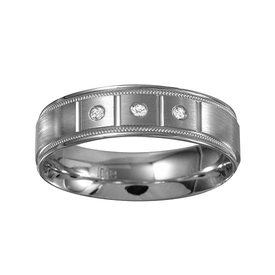 Mens 6mm Diamond-Accent 10K White Gold 3-Stone Wedding Band