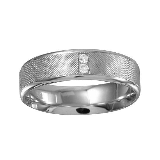 Mens 6mm Diamond-Accent 10K White Gold Textured Wedding Band