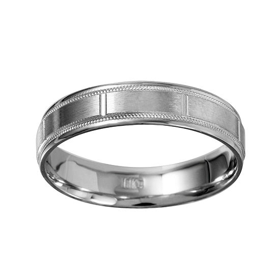 Mens 5mm 10K White Gold Milgrain Wedding Band