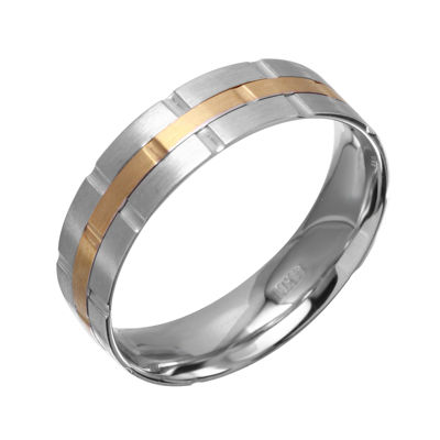 Mens 5mm 10K Two-Tone Gold Wedding Band
