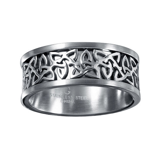 9mm Wedding Band 1 4 Ct Tw Black Diamonds Stainless Steel: Mens 9mm Gray Stainless Steel Celtic Wedding Band