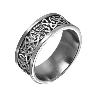 Mens 9mm Gray Stainless Steel Celtic Wedding Band