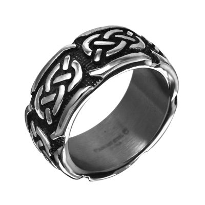 Mens 10mm Gray Stainless Steel Celtic Wedding Band