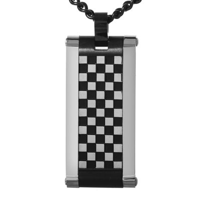 Mens Two-Tone Checkerboard Dog Tag Necklace