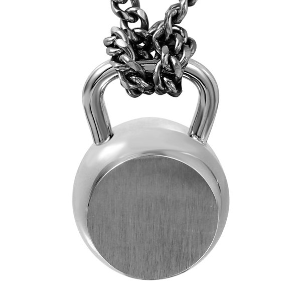 Mens Gray Stainless Steel Dumbbell Pendant Necklace