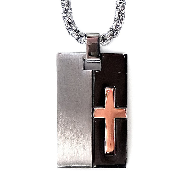 Mens Tri-Tone Stainless Steel Cross Dog Tag Necklace