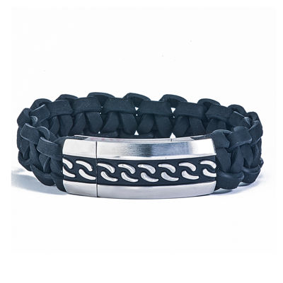 Mens Braided Black Leather and Stainless Steel ID-Style Bracelet