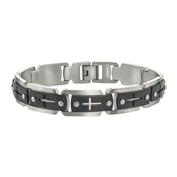 Mens Two-Tone Cutout Cross Chain-Link Bracelet