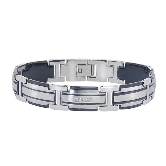 Mens 1/5 CT. T.W. Diamond Two-Tone Stainless Steel Link Bracelet