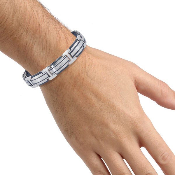 Mens 1/5 CT. T.W. Diamond Two-Tone Stainless Steel Link Bracelet