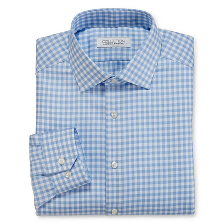 Collection by Michael Strahan Mens Spread Collar Long Sleeve Wrinkle Free Stretch Dress Shirt, 15 32-33, Blue