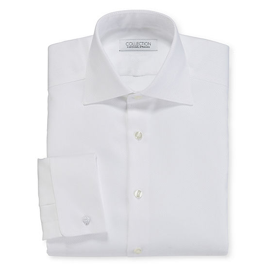 Collection by Michael Strahan Mens Spread Collar Long Sleeve Wrinkle Free Stretch Dress Shirt with French Cuffs