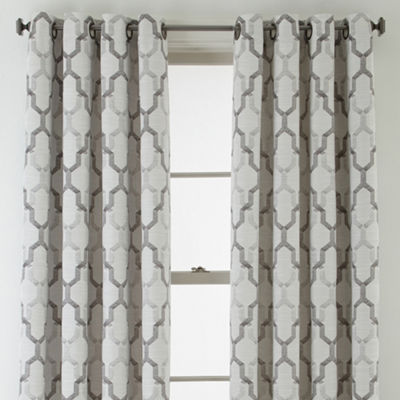 JCPenney Home Casey Jacquard Grommet-Top Curtain Panel