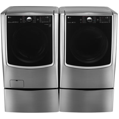 LG 4-pc. Gas Washer & Dryer Set with Pedestals- Graphite Steel