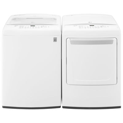 LG 3-pc. Top Load Washer & Electric Dryer Set with Sidekick- White