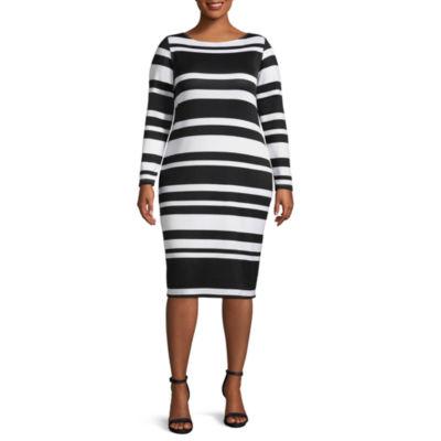 Project Runway Long Sleeve Stripe Bodycon Dress - Plus