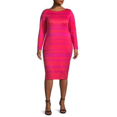 Project Runway Long Sleeve Stripe Bodycon Dress-Plus