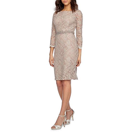 Jackie Jon 3/4 Sleeve Beaded Sheath Dress