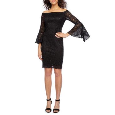 Scarlett 3/4 Sleeve Off The Shoulder Lace Sheath Dress