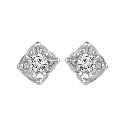 1/10 CT. T.W. Genuine White Diamond 10K White Gold 4.5mm Stud Earrings