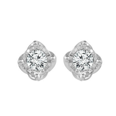 1/3 CT. T.W. Genuine White Diamond 10K White Gold 4.4mm Stud Earrings