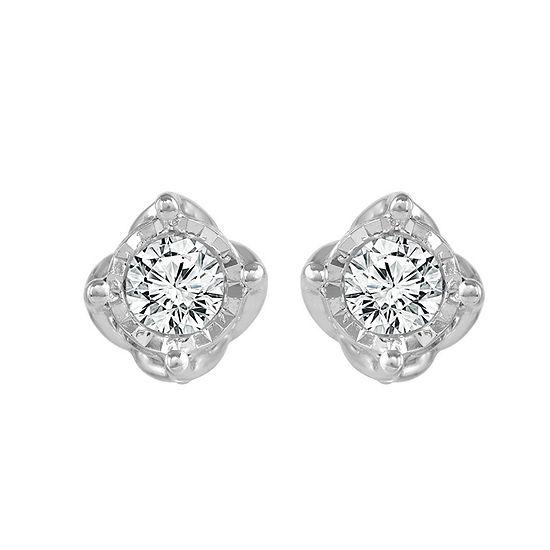 1/3 CT. T.W. Genuine White Diamond 10K White Gold 4.4mm Stud Earrings