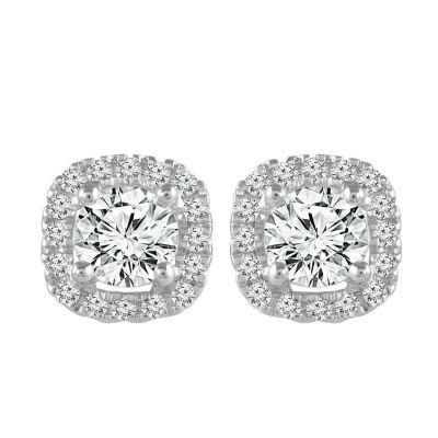 1/2 CT. T.W. Genuine White Diamond 10K White Gold 5.9mm Stud Earrings
