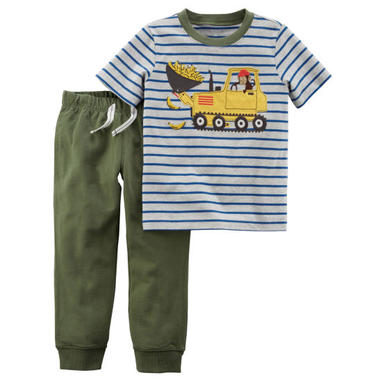 Carter's Truck Print Short Sleeve Tee & Pull-On Pant 2 Piece Set - Toddler Boy 2T-5T