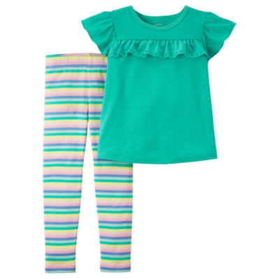 Carter's Solid Ruffle Top & Stripe Legging 2 Piece Set - Baby Girl NB-24M
