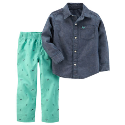 Carter's Denim Long Sleeve Woven & Anchor Print Pant 2 Piece Set - Baby Boys NB-24M