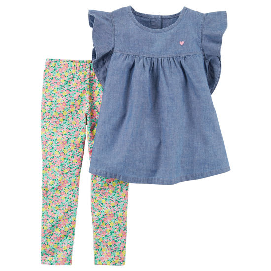 Carter's Chambray Top & Floral Legging 2 PC Set - Baby Girls NB-24M