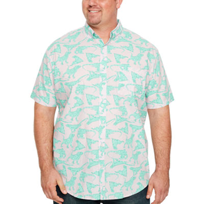 The Foundry Big & Tall Supply Co. Short Sleeve Pattern Button-Front Shirt-Big and Tall