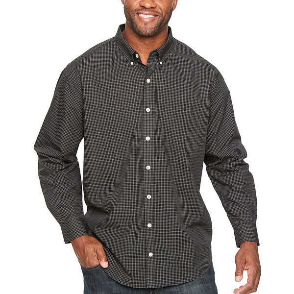 Van heusen wrinkle free poplin long sleeve checked button for Wrinkle free button down shirts