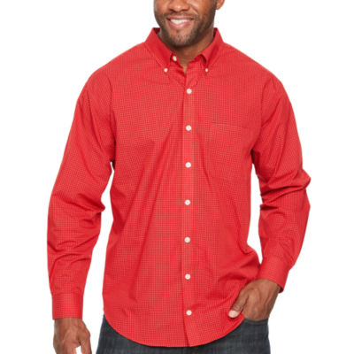 Van Heusen Wrinkle Free Poplin Long Sleeve Checked Button-Front Shirt-Big and Tall