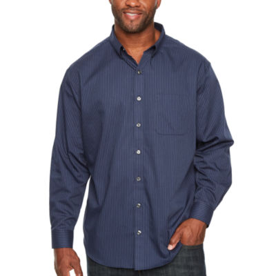 Van Heusen Wrinkle Free Twill Button Down Mens Long Sleeve Striped Button-Front Shirt Big and Tall