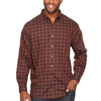 Van Heusen Wrinkle Free Twill Button Down Long Sleeve Stripe Button-Front Shirt-Big and Tall