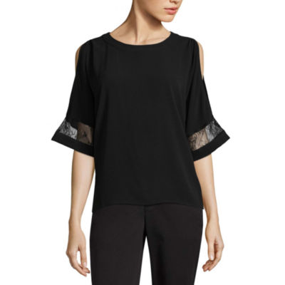 Worthington Elbow Sleeve Crew Neck Crepe Blouse-Petite