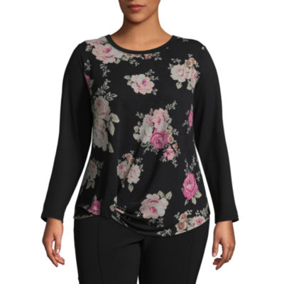 Alyx Long Sleeve Round Neck Floral T-Shirt - Plus