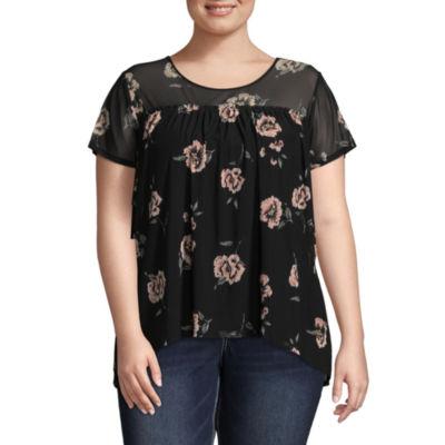 Boutique + Short Sleeve Mesh Floral T-Shirt - Plus