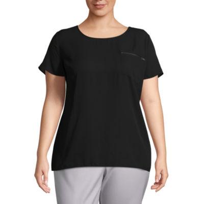 Worthington Short Sleeve Zipper Pocket Woven Blouse - Plus