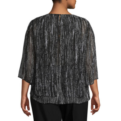 Worthington 3/4 Sleeve V Neck Poncho - Plus