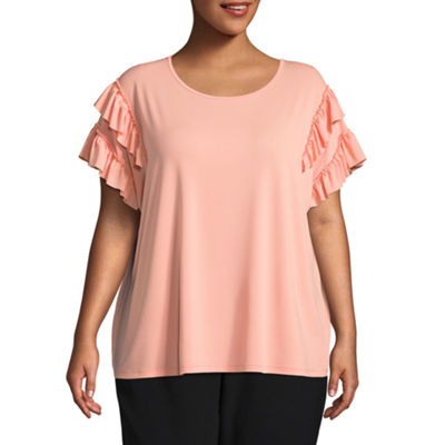 Worthington Ruffled Scoop Neck Knit Blouse - Plus